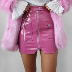 Sexy High Waist PU Leather Skirt Women Slim Zipper Pocket Skirts Womens Spring Autumn Elegant Mini Streetwear Skirts pink S