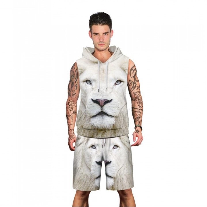 0a4781e89a46 Summer Men Cap Sleeveless Hoodies Casual Sets Sweatshirts Lion 3d Print  Loose Tracksuits Tops Shorts Suits