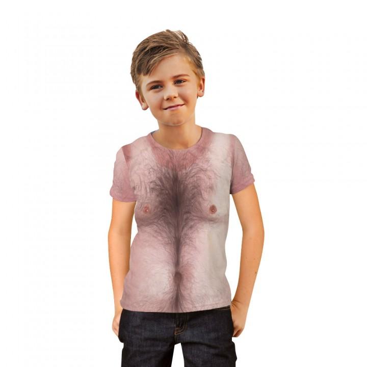Chest Hair Muscle 3D Printed T-shirt for Boys Girls 6-20 Years Teens Big Kids T Shirt Children Cloth