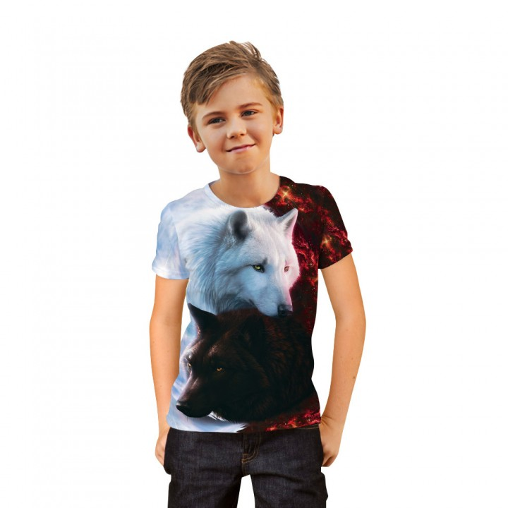 Summer 3D Funny Wolf Printed T-shirt for Boys or Girls 6-20 Years Teens Big Kids T Shirt Children Cloth