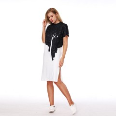 3D Printed Women Dress Short Sleeves Knee-Length Loose Dress Female O-Neck Beach T Shirt Dresses