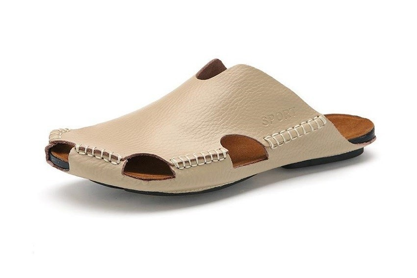 2f34ea9d217ca7 ... Genuine Leather Slippers Summer Fashion Beach Sandals for Men Shoes Hot  Sell beige 6  Product No  1345785. Item specifics  Seller SKU SB107  Brand