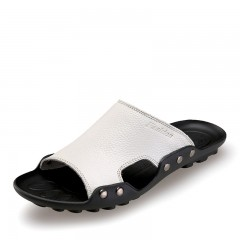 Men's  Summer Genuine Leather Breathable Home Indoor Outdoor Non-slip Slippers Beach Sandal white 38