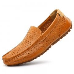 Genuine Leather Men Shoes Soft Moccasins Loafers Fashion Brand Men Flats Comfy Driving Shoes yellow 6