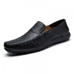 Plus Size Casual Driving Shoes Genuine Leather Flats  Handmade Loafers black 45