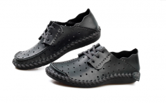 Handmade Driving Shoes Man Hollow  Casual Shoes  Soft Breathable Loafers Big Size 38-50 black 38