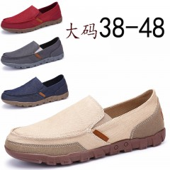 Fashion Solid Comfortable Casual Shoes Men Lace-up Light Summer Loafers Shoes Plus Size 38-48 beige 40