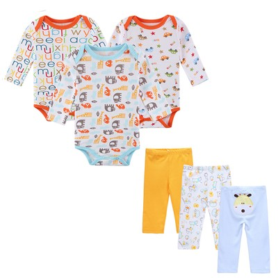 0bc127947 6 PCS  Lot Baby Boy Clothes Infant 0-12 Autumn Spring Baby Rompers+ ...