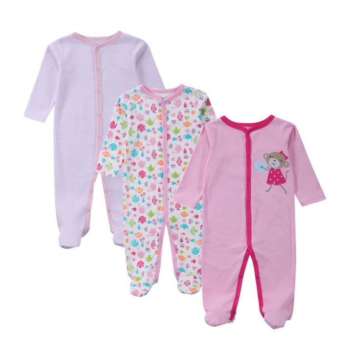 3 PCS  Baby Romper Cotton Baby Pajamas  Girls Boys Clothes multicolor 7-9m