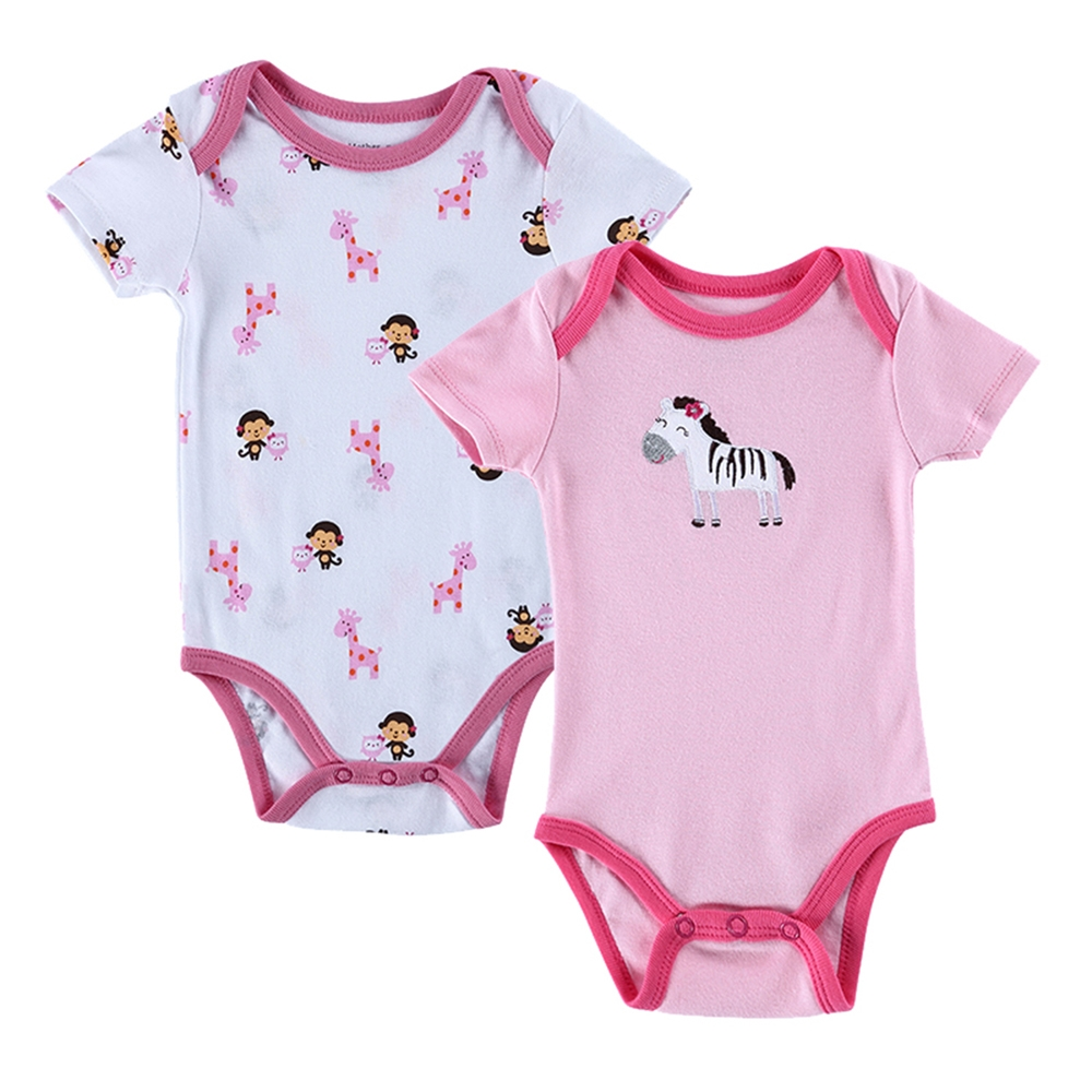 2 PCS//LOT Baby Romper Cartoon Animal 0-12M Jumpsuit Body Suit Baby Clothes