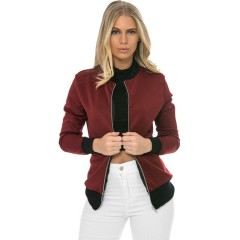 Long Sleeve Autumn Winter Casual Streetwear Lady Coat Outwear Tops Jacket burgundy S