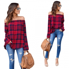 New Fashion Casual Slash Neck Blouses Women Plaid Shirt Female Long Sleeve Tops Blouse red S
