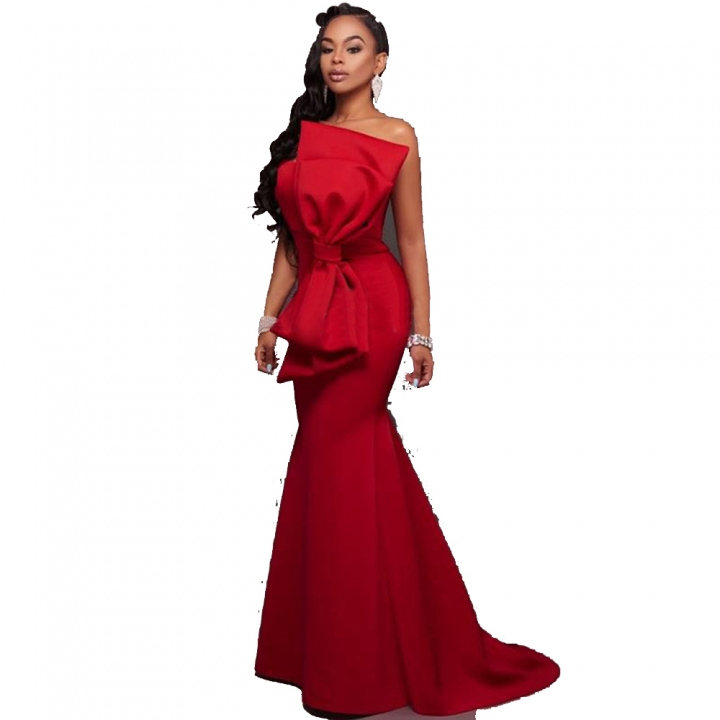 Modern Fashion Design Strapless Big Bowknot Front Small Trailing Tail Formal Gown Dress red l