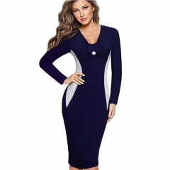 Women Casual Wear To Work Office Sheath Fitted Pencil Dress Autumn Elegant Classy V Neck Patchwork Bodycon Dresses Long sleeves blue S