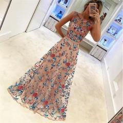 Fashion Summer Party Gown Dress  Elegant Girls Evening Floral Dress