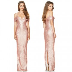Sexy Spaghetti Strap V-neck Party Gown Dress Sequins Slim Long Evening Dress