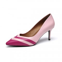 Fashion Stripe Party Pumps Women Classic Stilettos Sexy Pointed Toe High Heels Lady Handmade Genuine Leather Pumps