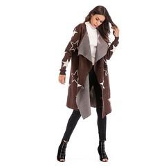 Autumn Winter Knitted Stars Pattern Coat Cardigan Sweater Women's Medium Long Style Loose Coat