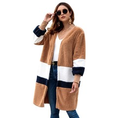 Women's Autumn Winter Sweater Open Front Long Style Plush Cardigan Coat