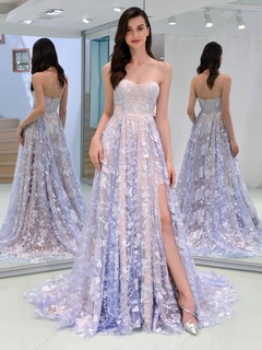 Strapless Wedding Party Gown Floral Fashion Formal Evening Dress