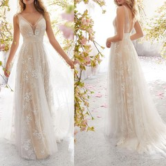 Long Sexy V Neck Flowers Glitter Lace Evening Gown Wedding Party Dresses Open Back