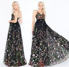Chiffon High Waist Casual Party Dress Women Floral Maxi Dress