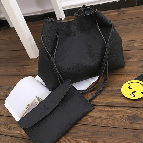 J.Bean 2 Sets Of Sub-Package New High-Quality PU Shoulder Bag Fashion Handbag Black One Size