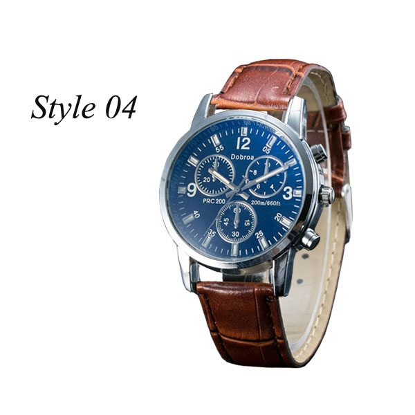 Sharer Leisure Blue Glass Male Watch Fashion Men Watch Three Belt Watch Style 04 One Size