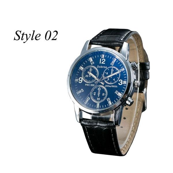 Sharer Leisure Blue Glass Male Watch Fashion Men Watch Three Belt Watch Style 02 One Size