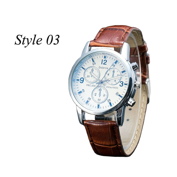 Sharer Leisure Blue Glass Male Watch Fashion Men Watch Three Belt Watch Style 03 One Size