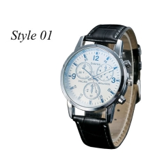 Sharer Leisure Blue Glass Male Watch Fashion Men Watch Three Belt Watch Style 01 One Size