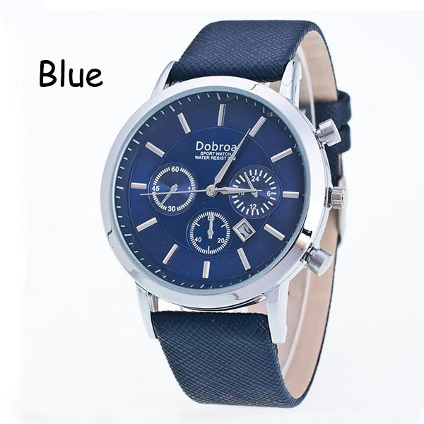 Sharer Business Casual Men Table Function Waterproof Single Calendar Leather Casual Table Blue One Size