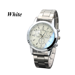 Sharer New Bright Blue Glass Three Gold Alloy Watch Men's Fashion Business Watches White One Size
