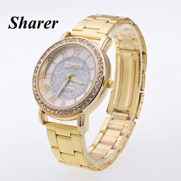 Sharer Fashion Gold Scrub Women's Table Roman Digital Business Women's Watches Gold One Size