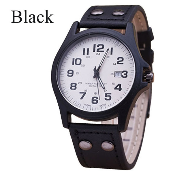 Men Sports Outdoor Watch Casual Imitation Leather Calendar Quartz Watch Men's Military Watch Black One Size