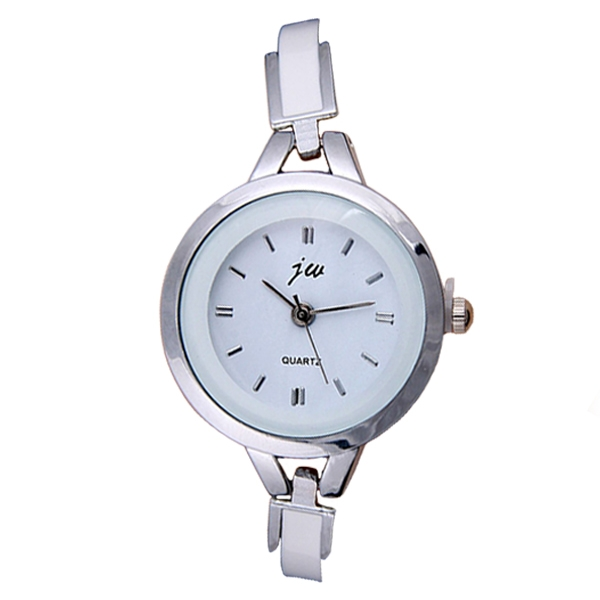 Europe And The United States Ladies Fashion Watch With Metal Silicone Watch Silver