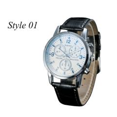 Sharer Leisure Blue Glass Male Watch Fashion Men Watch Three Belt Watch Style 04 One Size style 01 one size
