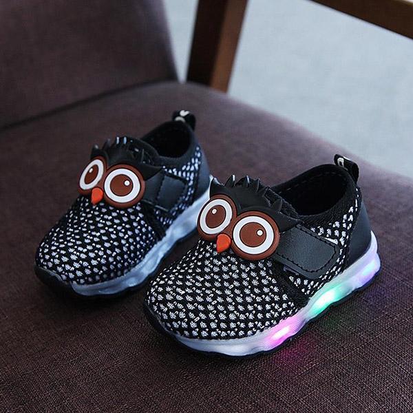 LED Light Baby Soft Undergraduate School Children's Shoes Mesh Breathable Sports Shoes Black 18