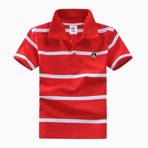 Big Boys Cotton Pure Color Clothing Children's Short Sleeve T-Shirt Kids Striped Polo Shirt Red 8