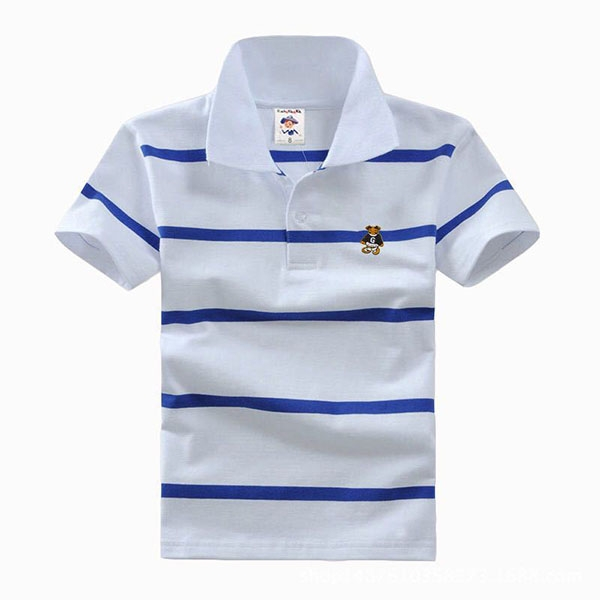 Big Boys Cotton Pure Color Clothing Children's Short Sleeve T-Shirt Kids Striped Polo Shirt White 10
