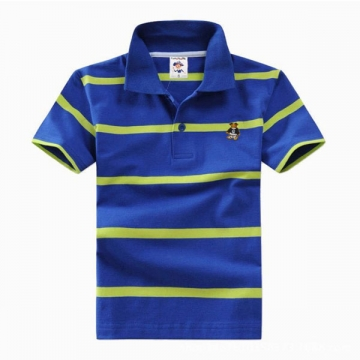 Big Boys Cotton Pure Color Clothing Children's Short Sleeve T-Shirt Kids Striped Polo Shirt Blue 8