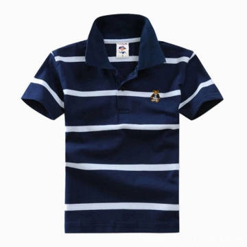 Big Boys Cotton Pure Color Clothing Children's Short Sleeve T-Shirt Kids Striped Polo Shirt Dark Blue 12