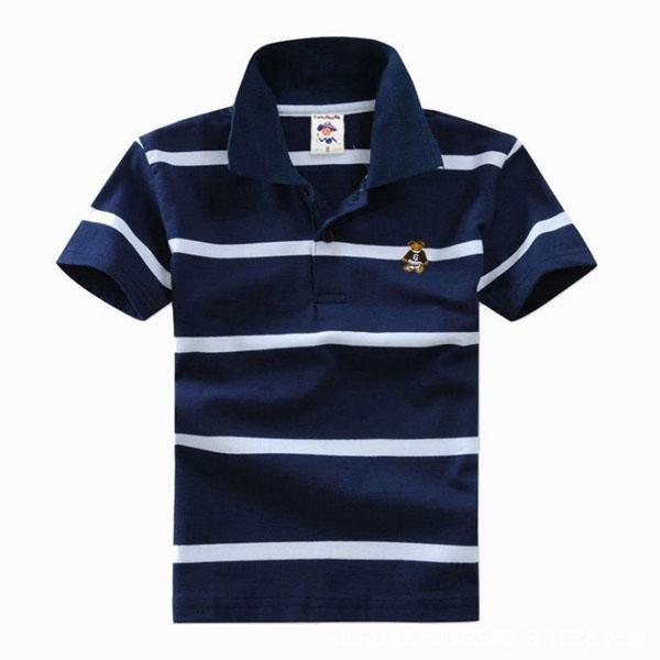 Big Boys Cotton Pure Color Clothing Children's Short Sleeve T-Shirt Kids Striped Polo Shirt Dark Blue 10