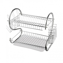 Stainless Steel 2 Tier Dish Drainer Drying Rack - Silver Silver 1 Piece