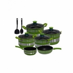 Non Stick Cooking Pots Set - 12 Pieces - Green & Silver Green/Silver 12 Pieces