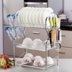 Stainless Steel 3 Layer Dish Rack Drainer Silver 1 Piece