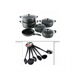 Non-Stick 11 Piece Aluminium Stock Pot & Frying Pan With 6 Pc Non Stick Cooking Spoons Black 17 pc