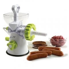 Multipurpose Manual 5-in-1 Juicer, Meat Mincer, Vegetable Grinder, Paster Maker & Sausage Stuffer White/Green 1 Piece