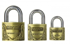 Top Anti-Burglar Theft Zinc Alloy Security Padlock with 3 Keys Goldish/Black Small