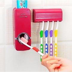 Automatic Toothpaste Dispenser & 5 Pc Toothbrush Holder Dark Red/Maroon 2 pieces